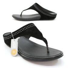 Fitflop Ladies 11 (43) Banda Toepost with Studs Black Sandals Comfort Flip Flops