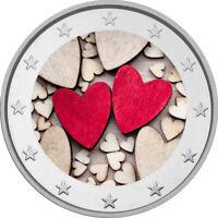 2 Euro Gedenkmünze Valentinstag coloriert mit Farbe / Farbmünze Valentin Herz  2