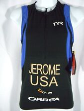 Tyr Competitor Singlet/Tank Sz Xs Black/Blue/White Mens Top (Jerome Usa) New $66