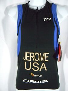 "TYR Competitor Singlet/Tank Size XS Black/Blue/White Mens Top ""Jerome USA"" NEW"