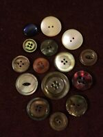 Assortment of 15 Antique Vintage Mother of Pearl Buttons