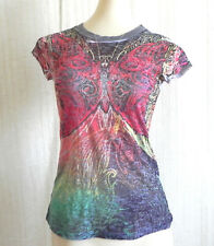 Romeo & Juliet Couture Butterfly Multi-Color Cap Sleeve Semi-Sheer Size Junior M