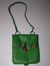 """Antique Vtg GREEN Leather PURSE HANDBAG Ornate Buckle Clasp 15"""" SHOULDER DROP"""