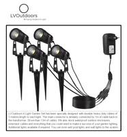 Garden Spike Lights 4x LED 12V Kit Set Bundle Outdoor Spot Low Voltage Spotlight