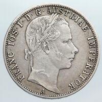 1860 A AUSTRIA w KING FRANZ JOSEPH I Eagle ANTIQUE OLD Silver Florin Coin i90449