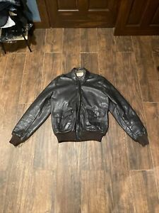 LL Bean Mens Size 44 Long Flying Tiger Thinsulate Goatskin Leather Bomber Jacket
