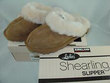 Kirkland WOMENS LADIES SHEEPSKIN SLIPPERS Shearling Chestnut New