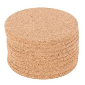Set of 10 Cork Bar Drink Coasters - Absorbent and Reusable - 90mm  5mm
