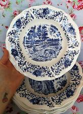 5 Assiettes Creuses Digoin Sarreguemines Derby Vaisselle Ancienne Bleu French
