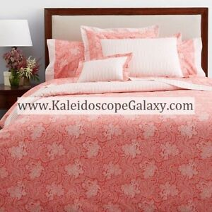 Anne De Solene ~ LODGE PAXTON KING FITTED SHEET  ~ FLORAL PAISLEY CORAL