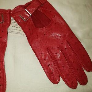 Vintage Grandoe Red Leather Racing Driving Gloves NWT Sz M / 7.5