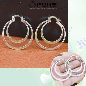 Hypoallergenic 18K White Gold Plated Double Hoop Earrings For Women Teen Girls