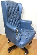 Vintage Chesterfield Style Executive Chair Tufted Swivel Tilt Blue Grey