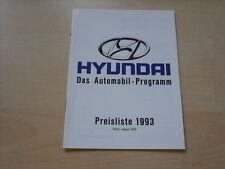 54195) Hyundai Pony Lantra Sonata S Coupe Preise & Extras Prospekt 01/1993