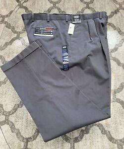 Roundtree & Yorke Travel Smart Pleated Chino Pants Trousers Big & Tall GRAYSMOKE