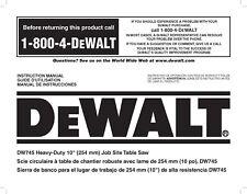 Dewalt Table Saw  Instruction Manual Model #DW745