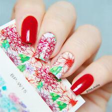2 Sheets/Set Fantastic Flower Nail Art Water Decals Transfer Stickers Kit DIY