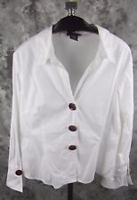 Spense Shirt Top Large White Animal Print Buttons Cotton Blend