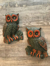 2 Owls Wall Hanging Decor Plaques Home Interiors Homco Foam Vintage Excellent