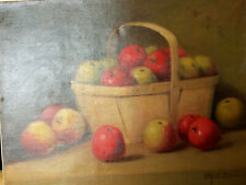 Antique oil on canvas Ellis 1906 Apples in Basket