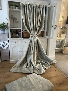 JAMES HARE Ambi Silk Green Grey Embroidered Paisley INTERLINED Huge Curtains