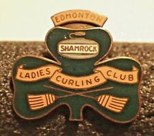 Vintage Curling Club Pin - Edmonton Shamrock Ladies Curling Club - Enamel