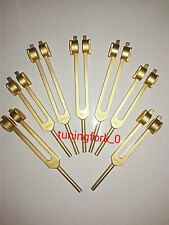 Gold 8 chakra weighted sound healing tuning fork+Activator + Free Ship
