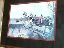 "Fox Hunt Print J R Herring Signed Double Matted And Framed 25 1/2"" X 19 1/"