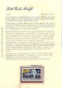 USA: 1969 SBARCO 1° UOMO LUNA CENT. 10** ASTRONAUTA IGNOTO. CERTIFICATO + FDC