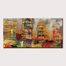 Mintura Handmade Oil Paintings On Canvas  Abstract line architecture  Home Decor