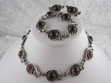 Mexican Sterling Taxco Necklace, Bracelet and Earring set Signed Lopez