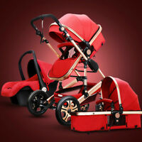 3 in 1 Baby Stroller High View Pram Foldable Pushchair Bassinet Strollers Red