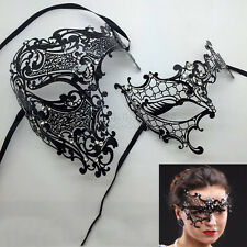 Matching Phantom Men Woman Couple Lover Venetian Masquerade Prom Metal Mask Set