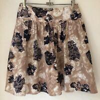 PORTMANS Womens Skirt Size 10 Flared Gathered Waist Knee Length Brown Floral