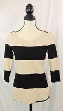Banana Republic Tan & Black Striped 3/4 Sleeve Tee Shirt Top Sz XS #542