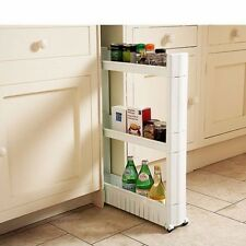 Storage Tower Rack Kitchen Trolley Slide Out Storage Tower Folding 3Tier Castor