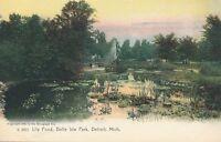 DETROIT MI – Belle Isle Park Lily Pond Rotograph Postcard – udb (pre 1908)