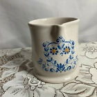 VAl DEMONE  Italian Pitcher Ivory/Blue Pottery Hand Painted Hand Thrown Signed