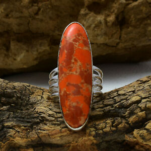 Nice Orange Copper Turquoise Gemstone 925 Sterling Silver Handmade Ring All Size