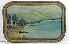 1932 - Lake Shore and Mountains- DEPRESSION ERA - Framed Oil on Board - SIGNED
