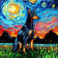 Doberman Dog Starry Night van Gogh Decor by Aja