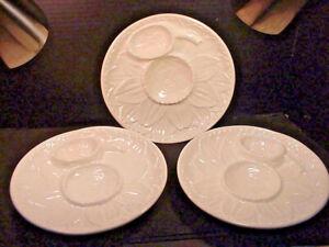 "SUR LA TABLE White Majolica Artichoke Serving Plates 9.25"" Portugal- Set of 3"