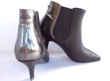 NEW Diesel Boots Women's Leather Heels Ankle Boots Silver Black