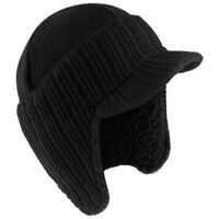 Mens Black German Style fleece Lined Peaked Beanie Hat,fast post 1st class