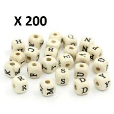 200 X ALPHABET CUBED NATURAL WOODEN BEADS, SPACER BEAD, 10MM X 10MM, HOLE 3.5MM