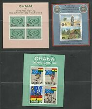 Ghana Sc. #203a & 343a & G.B.#1684 3 Souvenir Sheets Mint Cat. $14.00 (X2898)