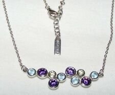 AGATHA PARIS STERLING SILVER CRYSTAL MODERNIST STYLE NECKLACE BLUE PURPLE GREEN