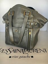 YSL DOWNTOWN Small Metallic Silver  Leather Bag Tote