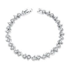 Platinum Plated Bracelet 8.22 Inch  AAA Zirconia Snap Lock Clasp L151