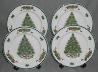 Set (4) Johnson Brothers VICTORIAN CHRISTMAS PATTERN Dinner Plates ENGLAND